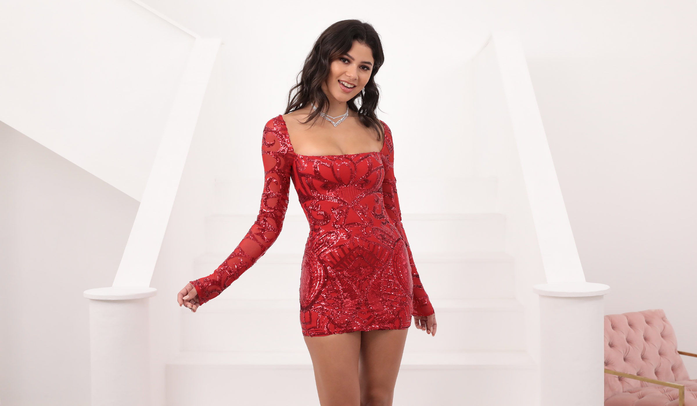 Giulia Sparkling Square Neck Dress in Red Sequins