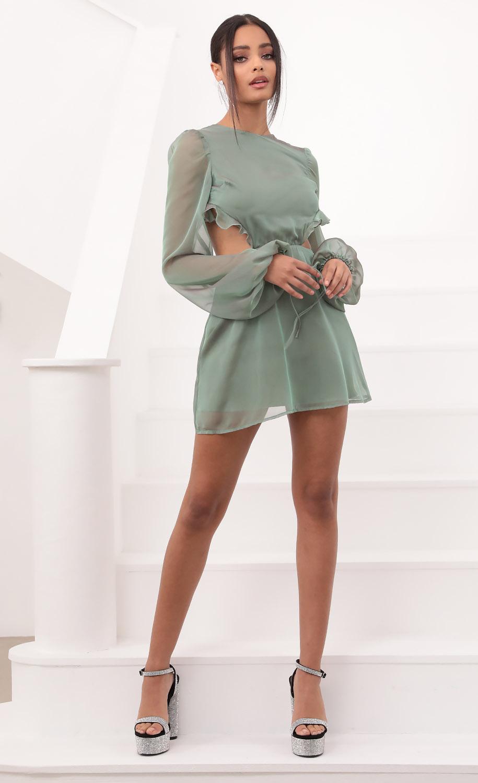 Kennedy Cutout Ruffle Dress in Metallic Sage