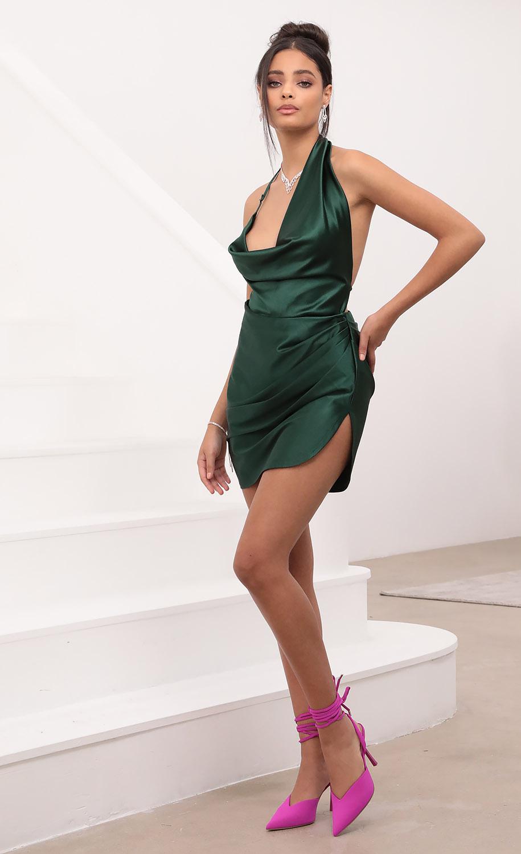 Daisy Drape Dress in Green Satin