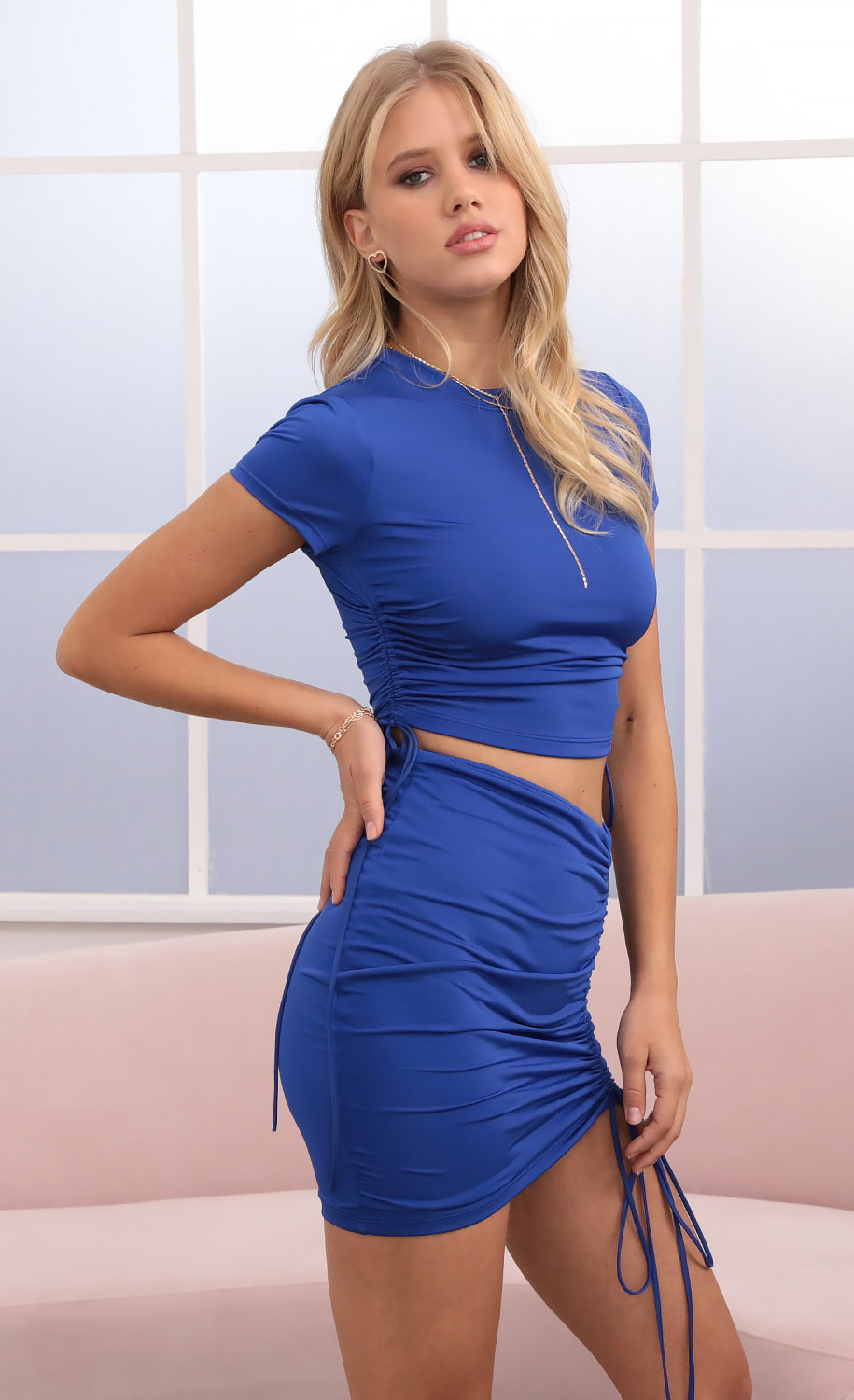 Amelia Two Piece Set in Royal Blue