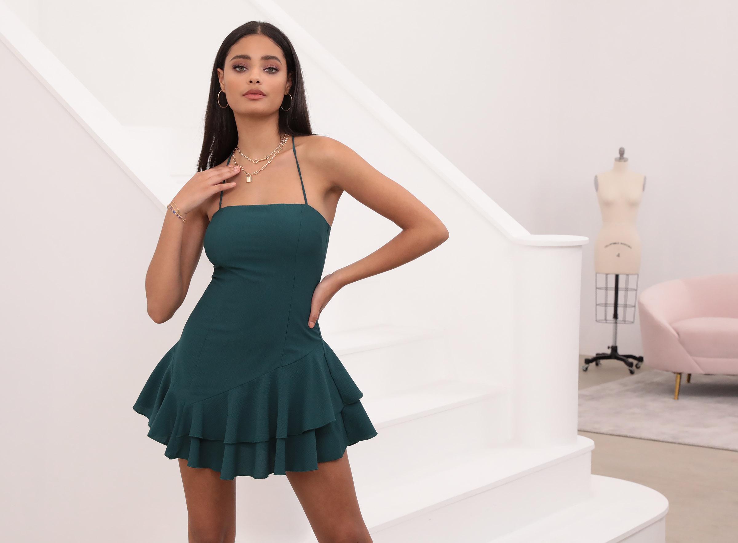 Azura Asymmetric Ruffle Dress Hunter Green