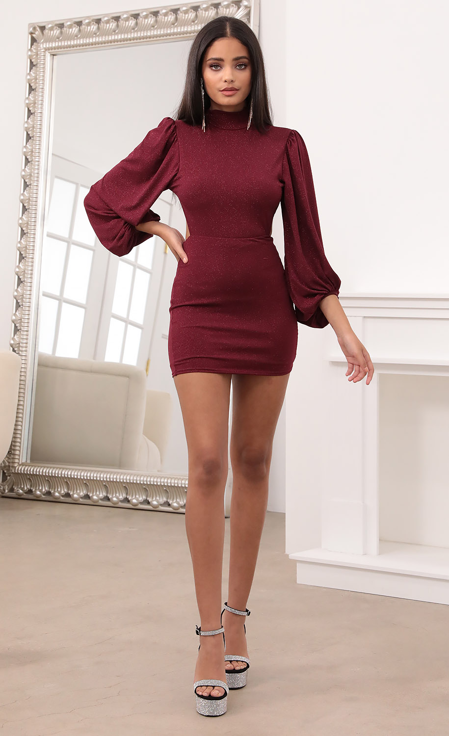 Halter Balloon Sleeve Dress in Burgundy Shimmer