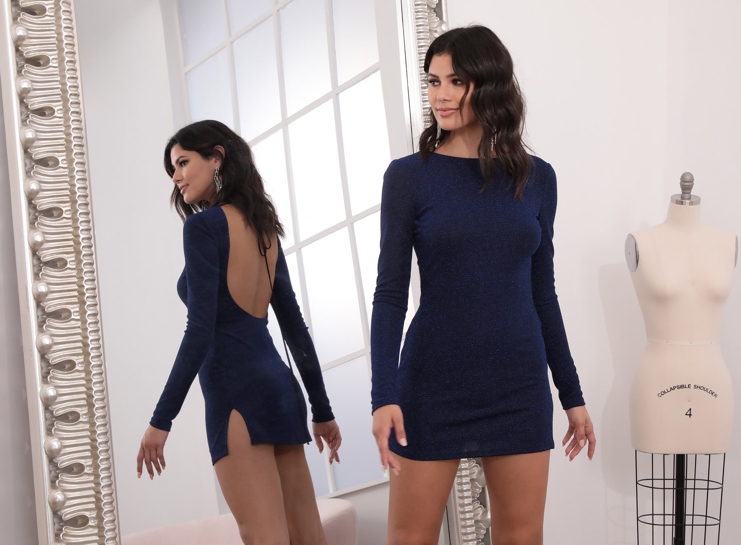 Gianna Slinky Shift Dress in Navy Shimmer