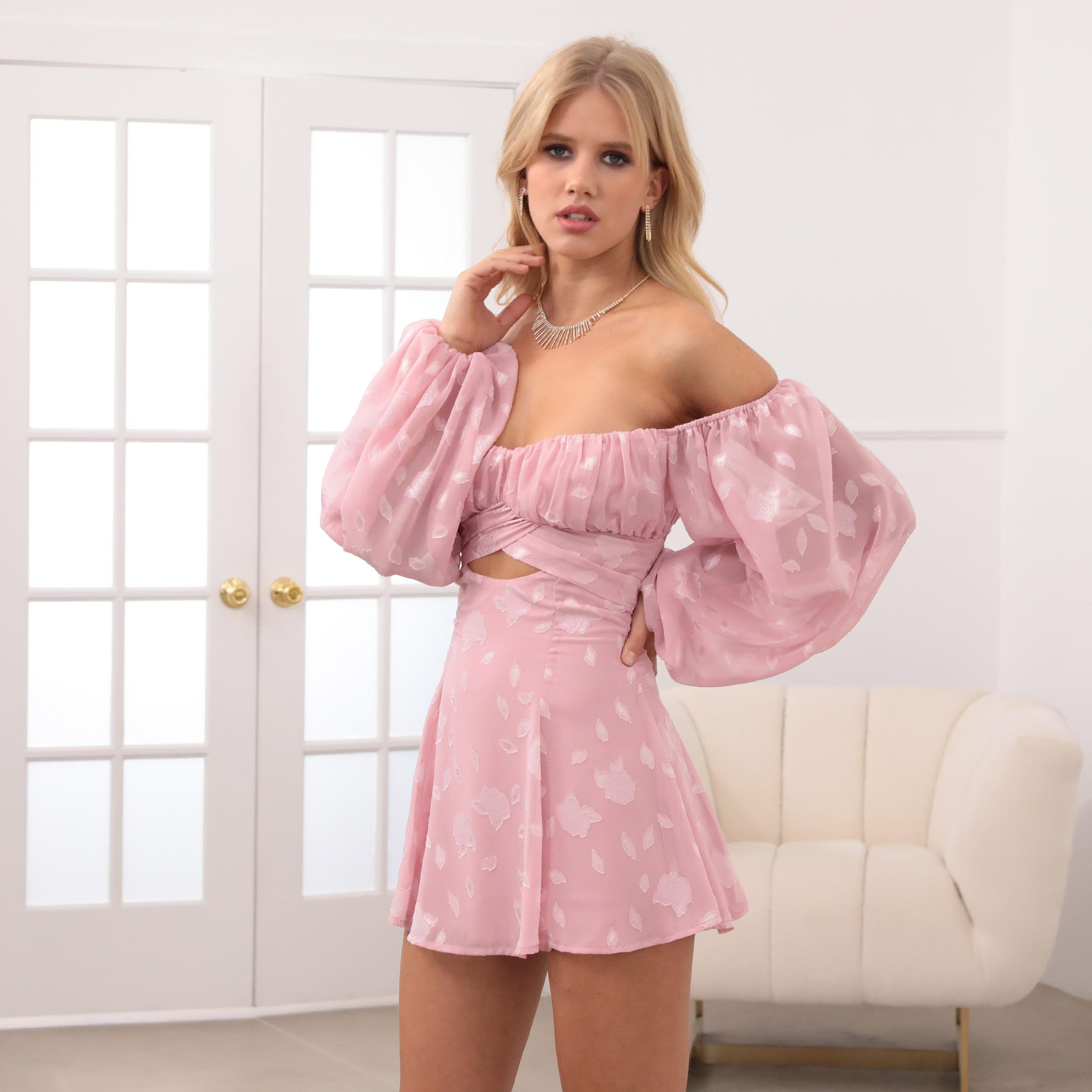 Sadie Off The Shoulder Dress in Pink Floral