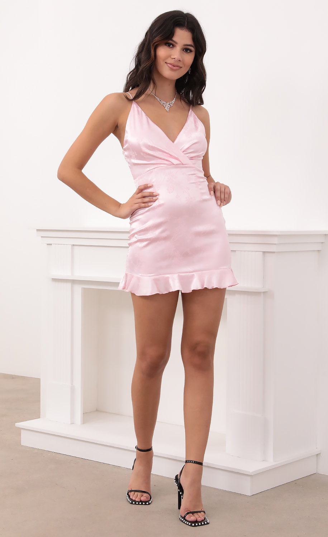 Tessa Ruffle Hem Babydoll Dress in Pink Jacquard