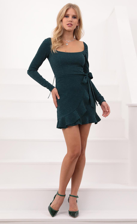 Capri Long Sleeve Ruffle Tie Dress in Green Shimmer