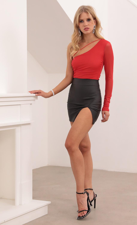 Hazel Asymmetrical Bodysuit in Red Shimmer