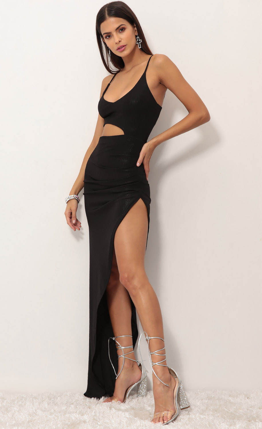 Ella Cutout Maxi Dress in Black Shimmer