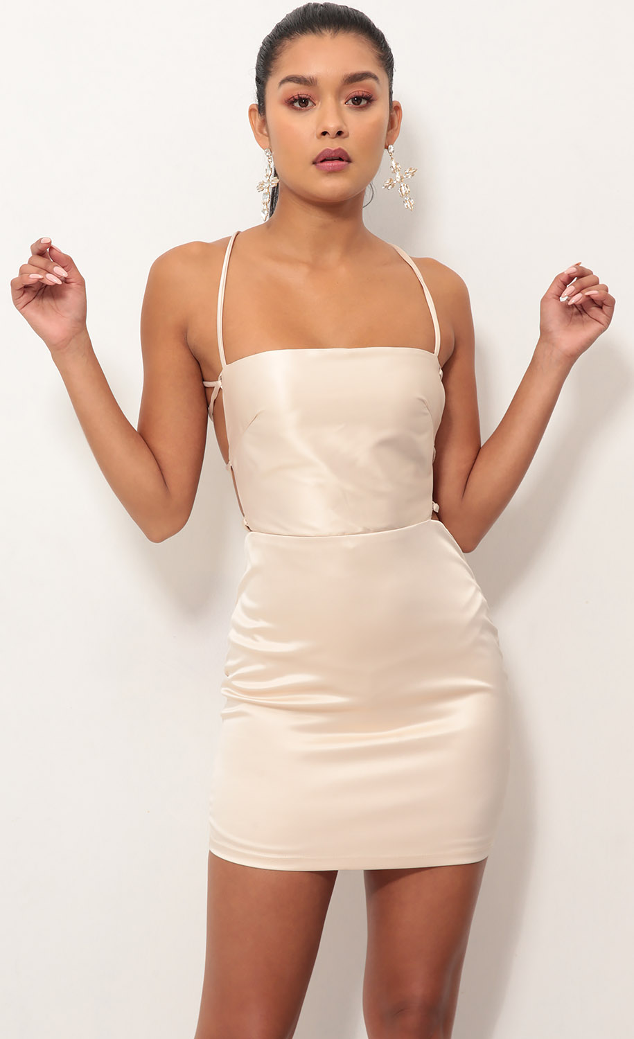Lulu Satin Lace-up Dress in Champagne