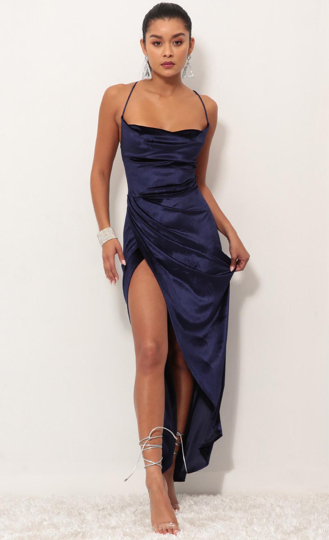 Velvet Luxe Maxi Dress in Royal Blue