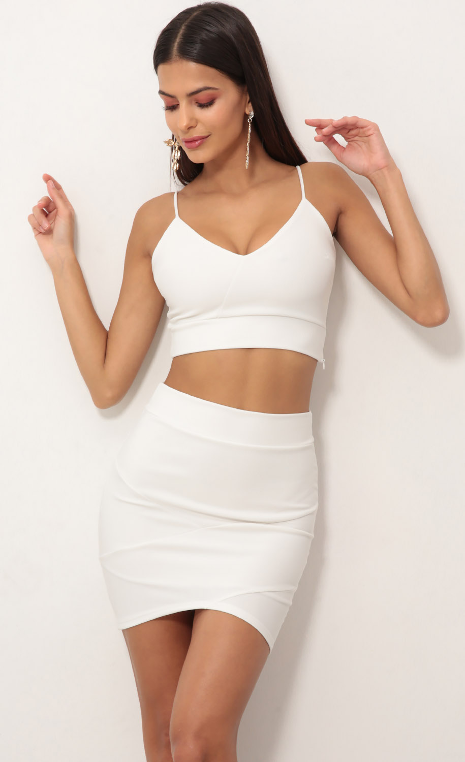 Two Piece Dress Set In White