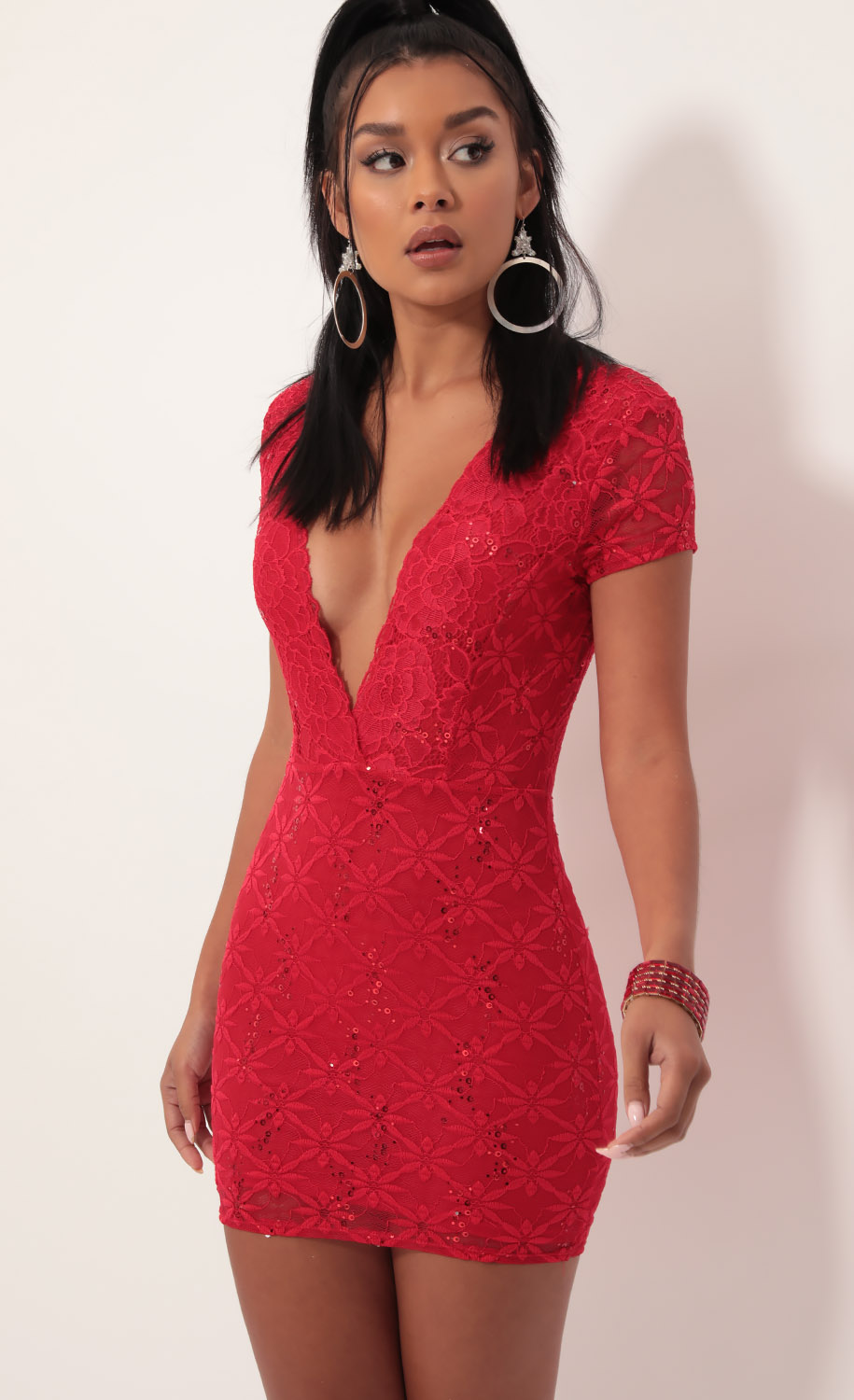 Delaney Lace Edge Dress in Sparkling Red