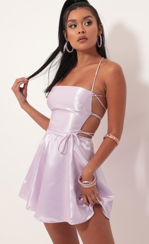 Nina Cutout A-line Dress in Lavender