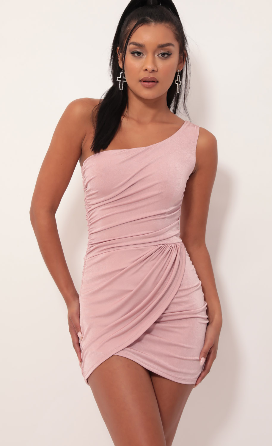 Karina Asymmetric Shoulder Dress in Mauve