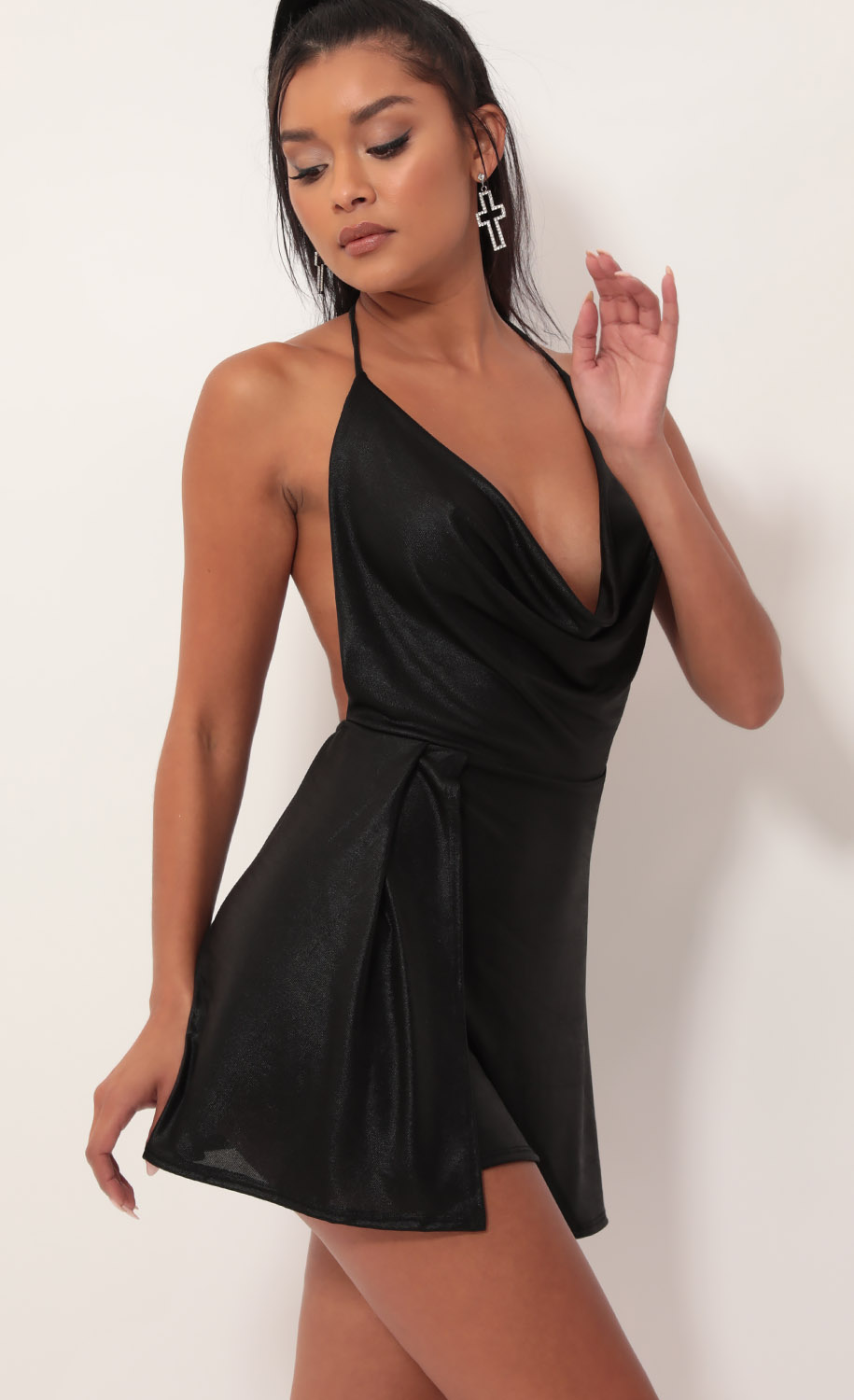 Kiana Cowl Neck Dress in Black