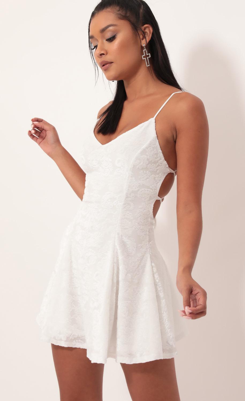 Floral Burnout Velvet A-line Dress In White