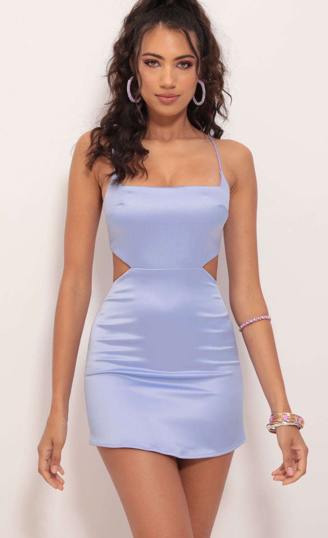 Alina Satin Hourglass Dress in Blue Violet