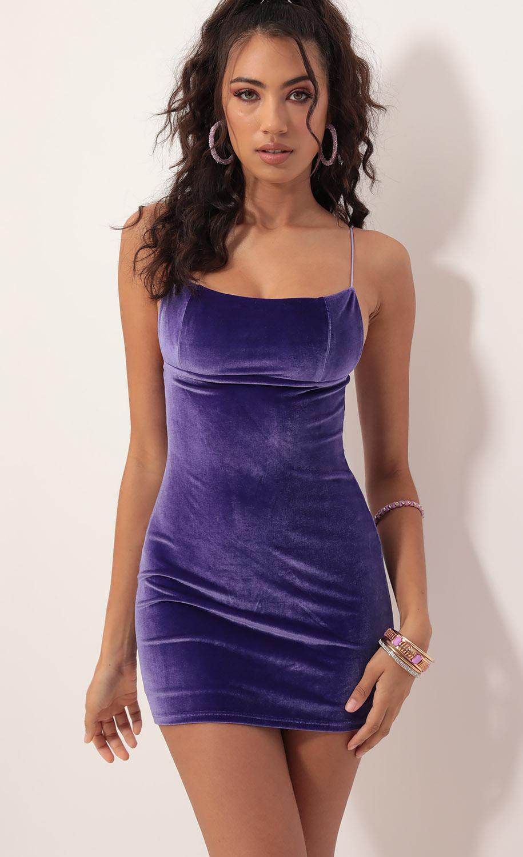 Jay Velvet Edge Dress in Violet