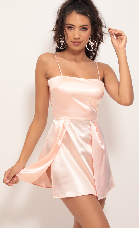 Gala High Slit Satin Dress in Blush