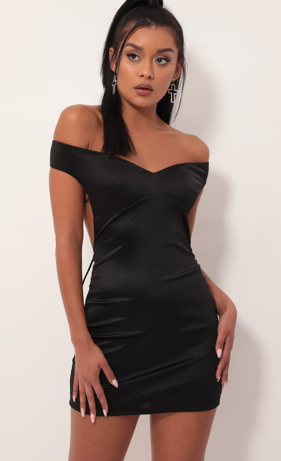 Dianna Satin Luxe Dress in Black