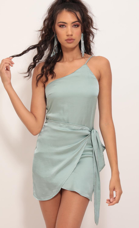 Santorini Satin Wrap Dress in Sage