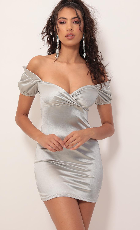 Karen Satin Puff Sleeve Dress in Silver