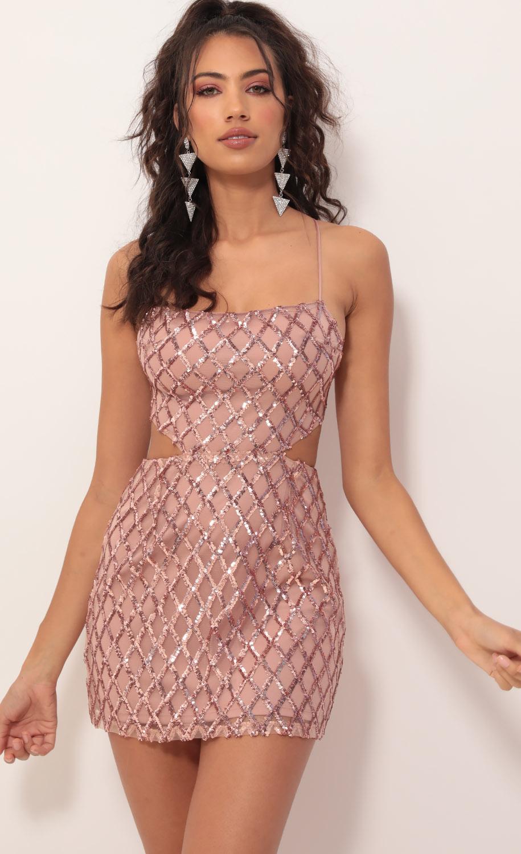 Tara Sequin Cutout Dress in Rose Gold