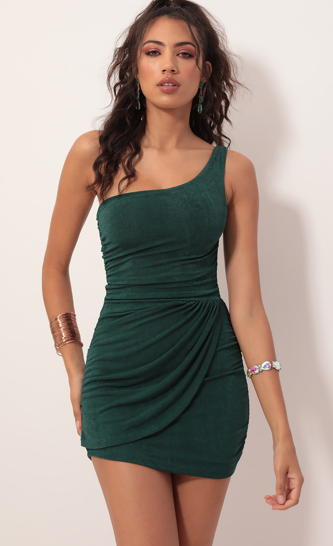 Karina Asymmetric Shoulder Dress in Hunter Green