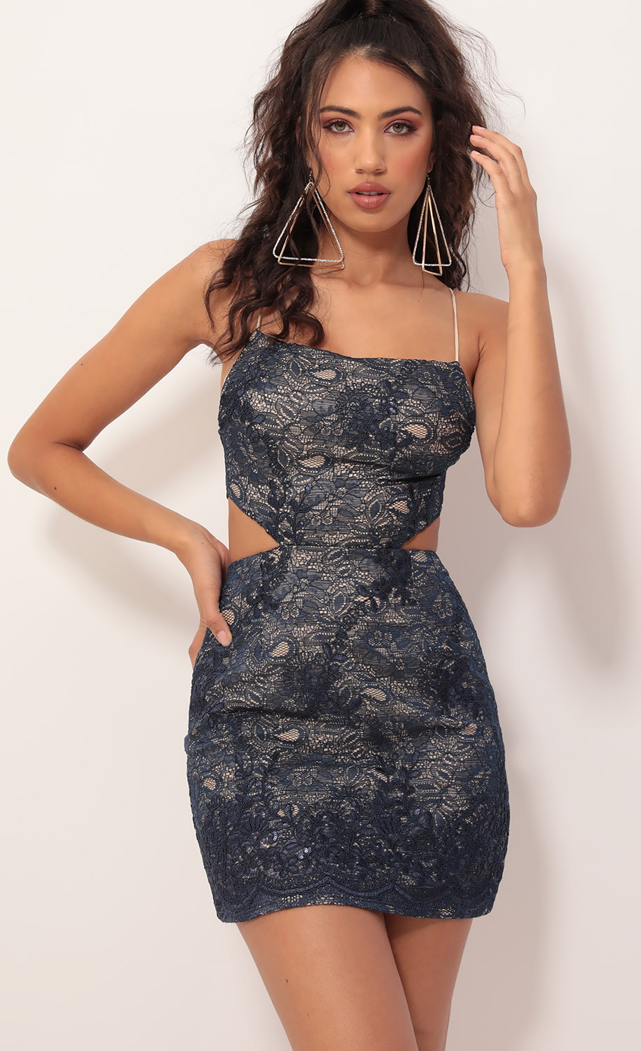 Lana Lace Cutout Dress in Navy Nude