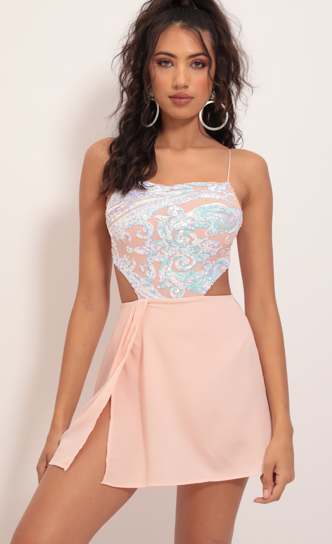 Paris Iridescent Sequin Chiffon Dress in Blush