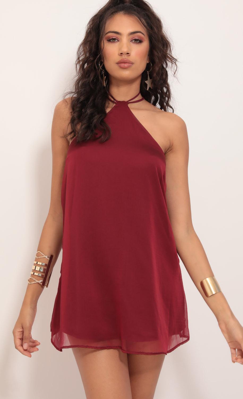 Maya Halter Chiffon Dress in Deep Red
