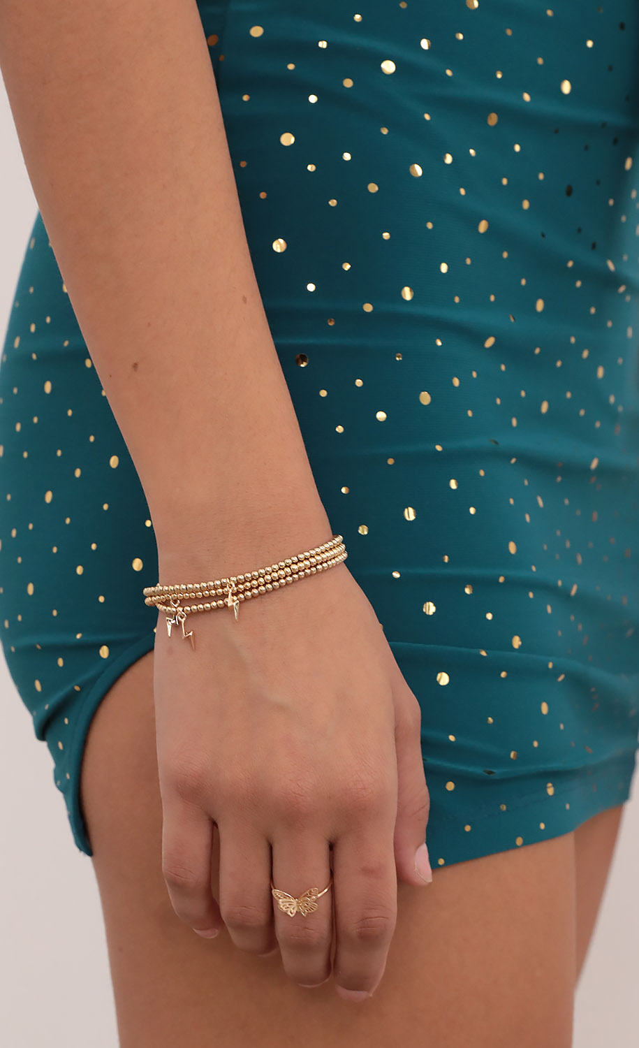 Gold Lightening Stacked Bracelet Set