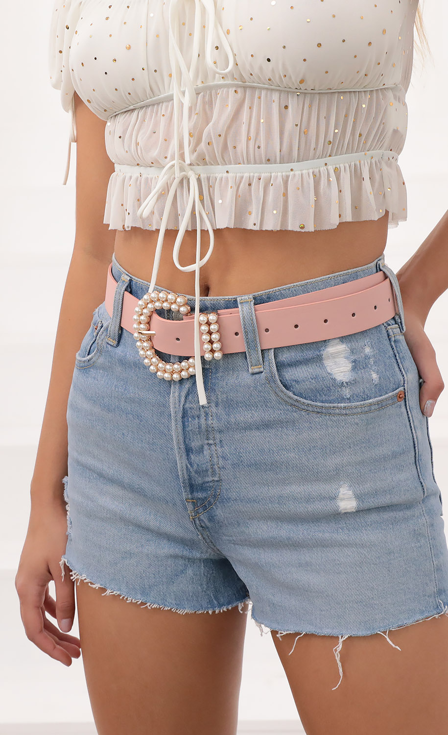 Dazzle Me Belt in Pink Pearl