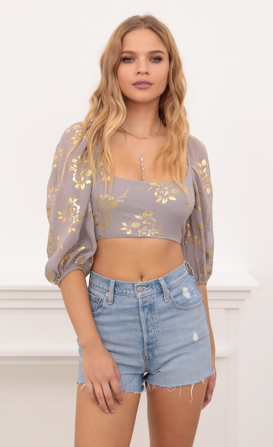 Vanessa Corset Top in Grey and Gold Floral