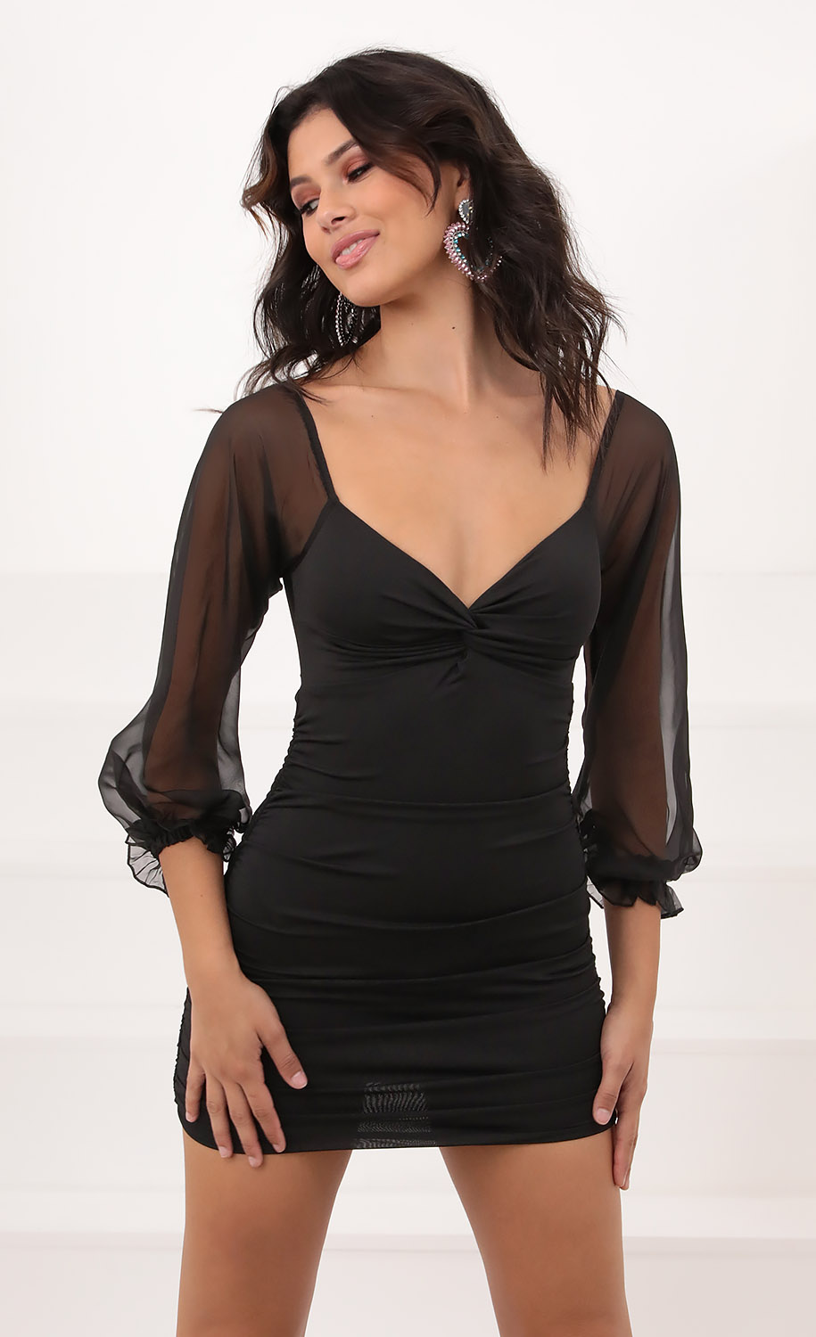 Denisse Chiffon Sheer Sleeve Dress in Black