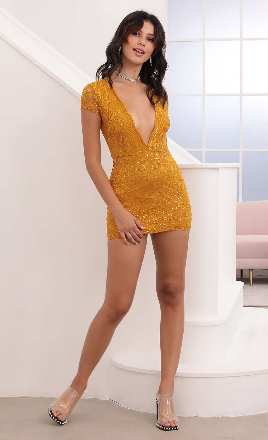 Kendra Plunge Lace Dress in Gold