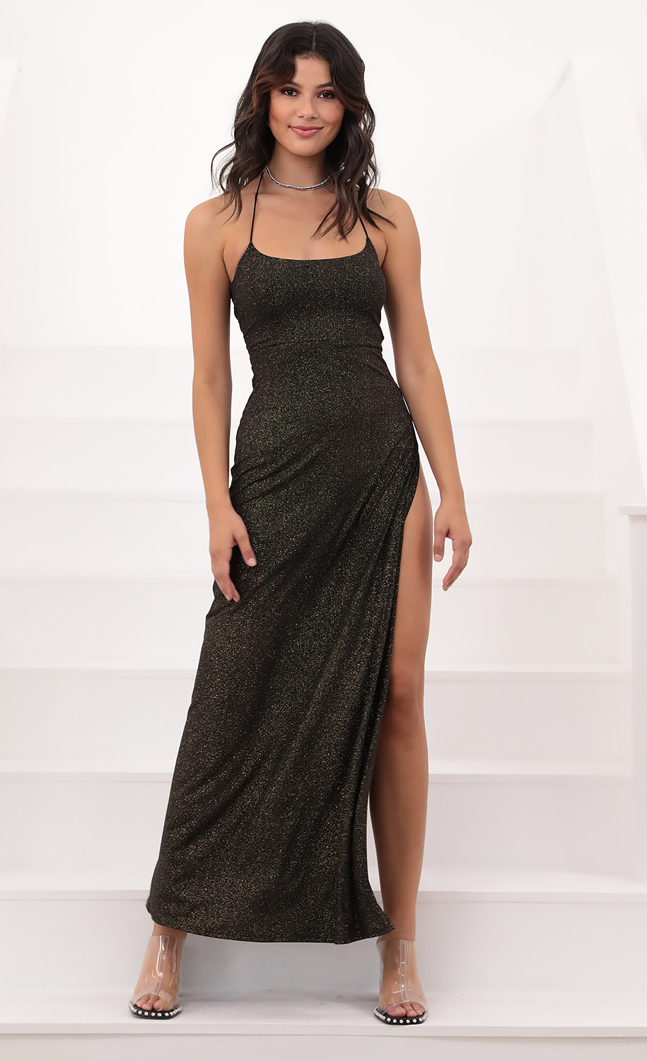 Marlena Ties Maxi in Black Shimmer