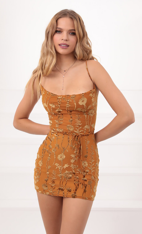 Velvet Floral Bodycon Dress in Mustard