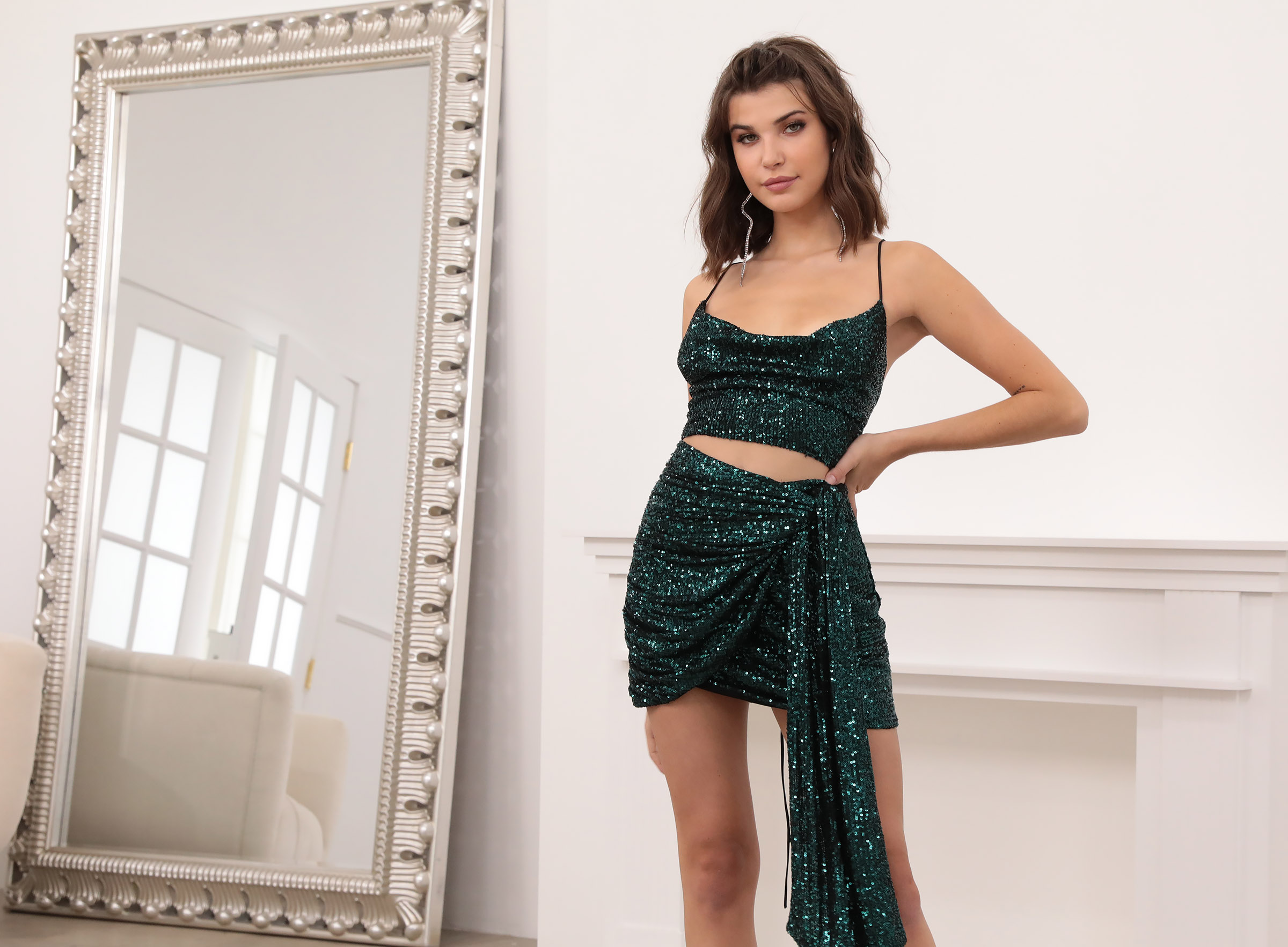 Tiffany Sequin Set in Emerald Green