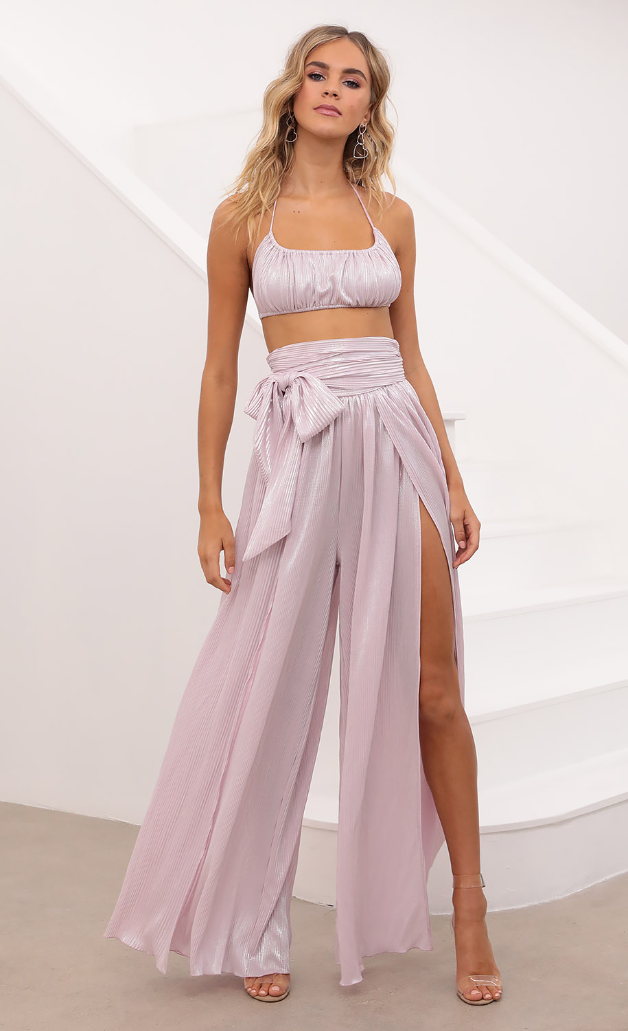 Lyla Two Piece Set in Pink Shimmer