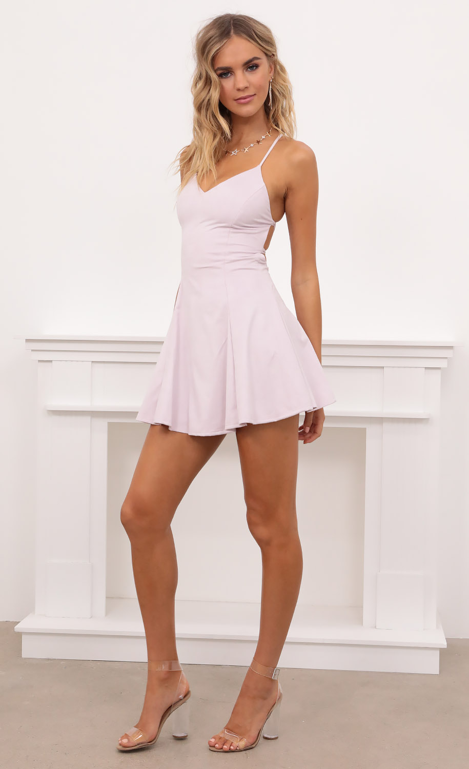 Marley Suede A-line Dress in Light Pink