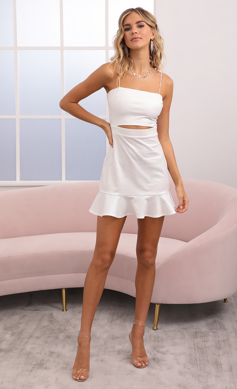 Reilly Cutout Ruffle Dress in White Iridescence