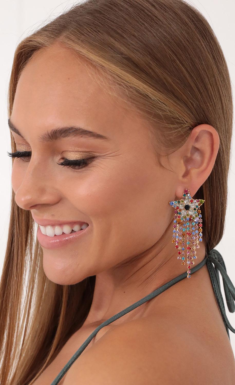 Wake Up In The Sky Crystal Earrings in Multicolor