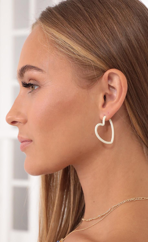 Break Hearts Hoop Earrings in White