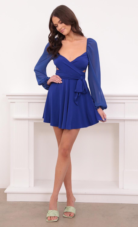 Aliah Chiffon Wrap Dress in Royal Blue