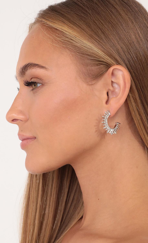 Sharp Edges Hoop Earrings in Silver