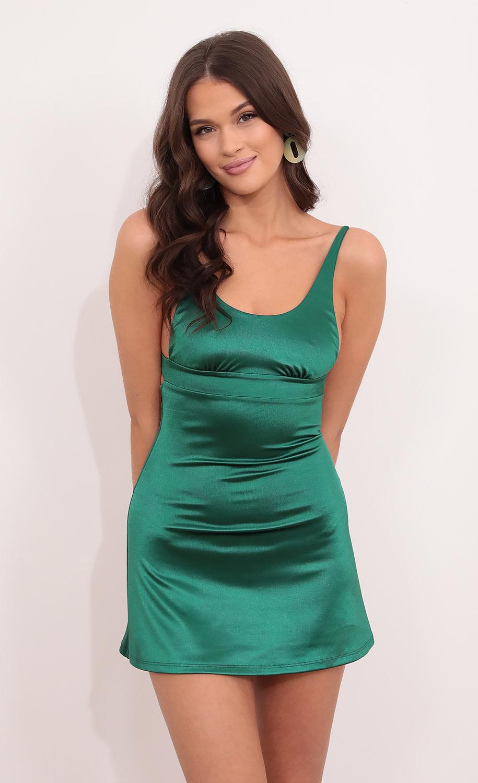 Cezanne A-line Dress in Emerald Green