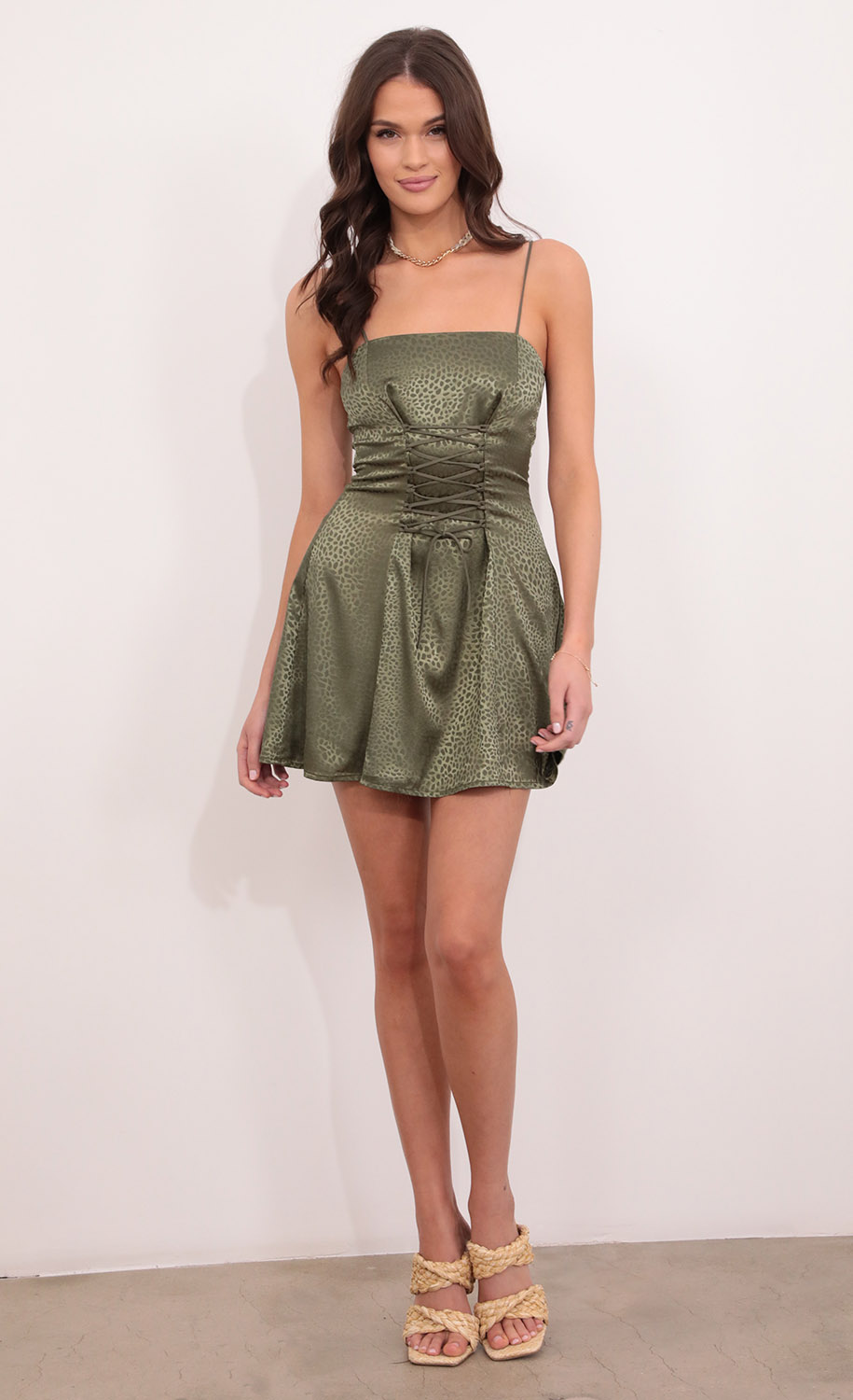 Mera Fit and Flare Dress in Green