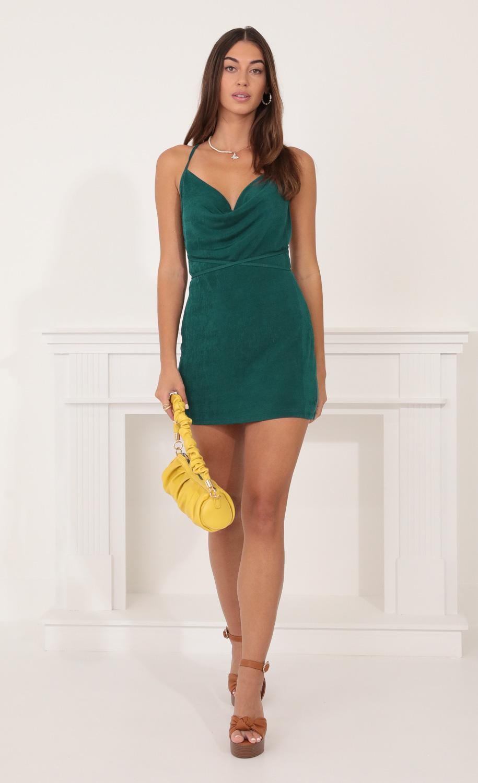 Mia Cowl Neck Dress in Hunter Green