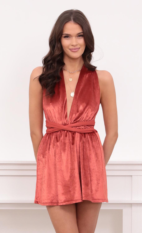 Natalie Dress in Orange Velvet